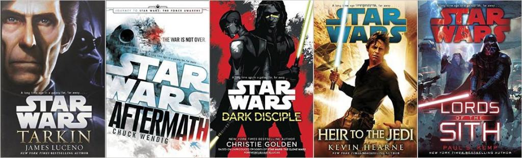 Auszug der Liste mit neuen Star Wars Büchern im Kanon